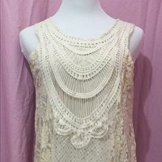 Ring in the New Year wearing vintage Beautiful vintage cream colored dress. It is comprised of lace and crochet. It sits just below the knee. Mystree Dresses
