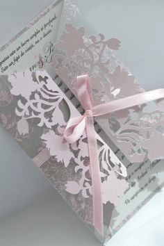 Pink & Grey Wedding Invitation - die-cut with Craft Robo