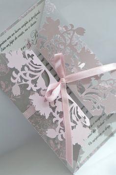 Pink & Grey Wedding Invitation - die-cut with Craft Robo