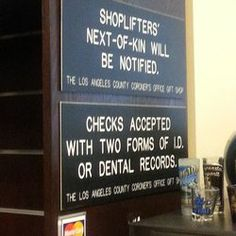 Los Angeles County Department Of Coroner. Gift shop sign