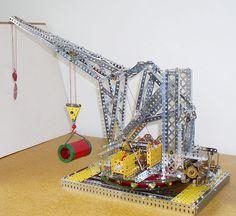 Meccano model page 32 1934 Super Model Leaflet Floating Pontoon Crane Floating Pontoon, Hobby Toys, Old Toys, Building Toys, Games For Kids, Crane, Supermodels, Diners, Engineering