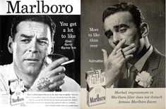 Marlboro ad used when marketing to men. Note tattoos on the hands. John Wayne was also a spokesman.