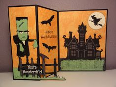 The Cricut Bug: Happy Hauntings cricut halloween ideas Halloween Projects, Spooky Halloween, Happy Halloween, Halloween Stuff, Halloween Treats, Scrapbooking, Scrapbook Cards, Scrapbook Layouts, Fall Cards