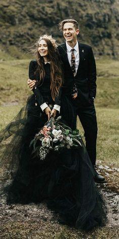 Mango Street Sweethearts: Rachel + Daniel's Moody Elopement on the Faroe Islands - Wedding Crown Black Wedding Dresses, Green Wedding Shoes, Tulle Wedding, Boho Wedding Dress, Black Weddings, Wedding Black, Wedding Gowns, Scottish Wedding Dresses, Mermaid Wedding