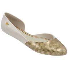 Mel Dreamed by Melissa |Tangerina Gold Flat Ballerinas | www.melshoes.com