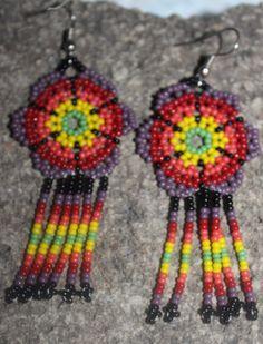 Huichol Peyote Beaded Earrings I-2 by HuicholArte on Etsy
