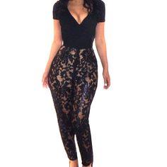 Women Short Sleeve Lace Deep V  Bodycon Cocktail Party Romper Jumpsuits #Generic #Jumpsuit