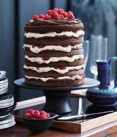 Chocolate raspberry layer cake - Gourmet Traveller-- A- this would make an amazing Groom's Cake