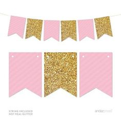 Pink and Gold Banner free printable. Print for a baby shower, bridal shower, first birthday party, and more. It is so easy to make just print, cut and hang. Diy Birthday Banner, Gold Birthday Party, Diy Birthday Decorations, Baby Shower Decorations, Girl Birthday, Birthday Parties, Gold Party, Gold Banner, Diy Banner