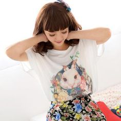 Dolman Short-Sleeve Rabbit Print Top from #YesStyle <3 59 Seconds YesStyle.com