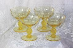 Set of (4) Depression Yellow Glass Wine Glasses. Starting at $40