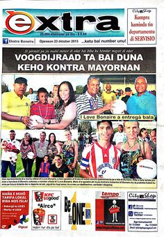 I Love Bonaire on front page in the Local newspaper from Bonaire. I Love Bonaire donated official soccer balls to 3 youth teams ATC Juventus and Vites.  I Love Bonaire sporting product range is well received by the soccer clubs. I Love Bonaire is proud to have these 3 teams playing with the local official soccer balls especially designed for Bonaire.  The soccer balls are available get yours soon...  copyright of the newspaper: www.extrabon.com