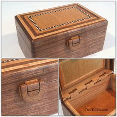 Wooden latch, wooden hinge and wooden box with inlaid herringbone, Cherry, red Oak, white Oak and Black Walnut in a Black Walnut wooden box. [Here is a pretty project for those wanting a lovely box with a nice catch] Wooden Jewelry Boxes, Jewellery Boxes, Woodworking Box, Woodworking Projects, Wooden Hinges, Woodworking Inspiration, Small Wood Projects, Diy Box, Wooden Crafts