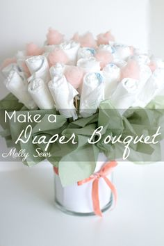 Sewing Baby How to Make a Diaper Bouquet - What a Cute Alternative to a Diaper Cake - and it could be nursery decor while being used! Tutorial and video from Melly Sews - Make a diaper bouquet - a great alternative to a diaper cake for a baby shower! Diaper Parties, Baby Shower Parties, Baby Shower Gifts, Baby Gifts, Baby Showers, Wedding Showers, Diaper Cake Centerpieces, Baby Shower Centerpieces, Baby Shower Decorations