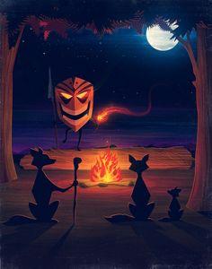 A Halloween scene in The Woods Art Print