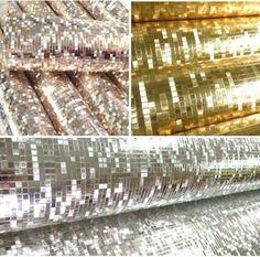 Mini-Mosaic-Tiles-Luxury-Metallic-Design-gold-foil-Glitter-Silver-wallpaper-roll