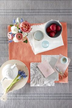 Get the look: Create a bright dining room scheme with accents of coral Bright Dining Rooms, Bright Rooms, Printed Linen, Grey Rugs, Color Of The Year, Pantone Color, Coral Color, Table Linens, Dining Area