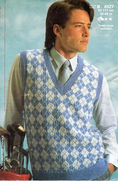 Vintage 4ply mens argyll pattern slipover knitting pattern pdf diamond pattern pullover 32-46 inch 4ply fingering Instant download by Hobohooks on Etsy