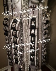Texas Mum, white silver and black   https://www.facebook.com/Homecoming-Mums-by-Esther-273602849493591