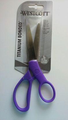 WESTCOTT TITANIUM SCISSORS, Left Or Right Handed Scissors, Purple Handle, 7 Inch…