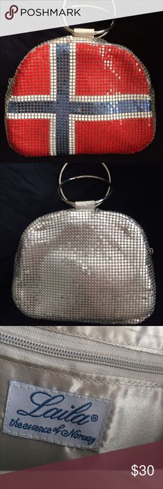 Laila Essence of Norway Purse Laila Essence of Norway by Geir Ness - Metal Mesh Purse with Metal Handles. Good Vintage Condition Satin Lined with a zipper compartment. PRICE Is FIRM Laila Essence of Norway Bags