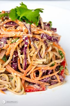 Peanut & Lime Thai Soba Noodle Salad [peanut butter, tamari, jalapeno, gnger, garlic + soba + veggies inc red cabbage] - Wellness with Taryn