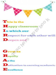 Third Grade Acrostic - love this!  Definitely going up in my classroom next year!!