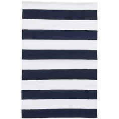 """Test drive this rug in your space.Order a swatch by adding it to your cart.Set sail for stylish seas with this durable indoor/outdoor area rug in broad, preppy stripes of navy and white. • Stripes run the width of the rug and are 3"""" wide"""
