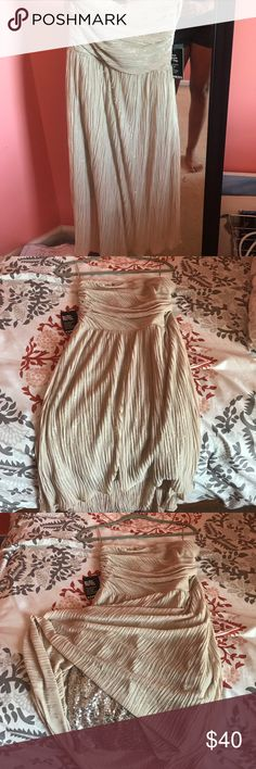 Strapless nude sequence dress Formal nude dress from Express. Never worn, in great condition Express Dresses High Low