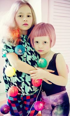 Little girls with pink pastel hair