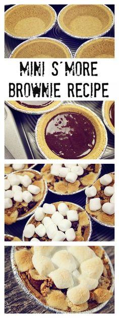 Mini S'more Brownie Recipe, super easy to make and super yummy Köstliche Desserts, Delicious Desserts, Dessert Recipes, Yummy Food, Dinner Recipes, Thanksgiving Desserts, Holiday Desserts, Thanksgiving Sides, Food Porn