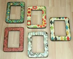 Take inexpensive frames and scrap paper and you'll have stylish Easy Decoupage Frames for your home! If you're looking for decoupage ideas, this homemade picture frames is a simple afternoon project that add a pop of color to a wall or coffee table. Homemade Picture Frames, Homemade Pictures, Wooden Picture Frames, Wood Frames, Decorated Picture Frames, Homemade Frames, Cute Crafts, Crafts To Make, Diy Crafts