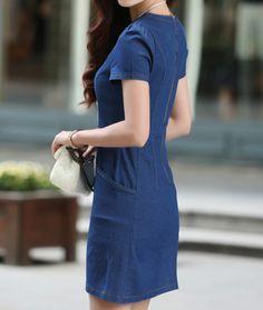 2016 Summer Short Sleeve Big Size Loose Denim Dress Women Slim A Line Letter Floral Casual Vintage Dress