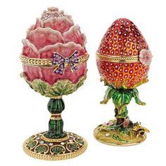 Gardens Treasures Faberge Style Enameled Eggs: Set of Two