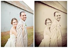 wedding photo before and after showing retro look