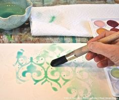 Love this idea! Stencil with wax to make a wax resist, then watercolor paint over the wax to reveal the pretty pattern! Great for wall art.  DIY Project Tutorial - Paint Watercolor Wall Art with Craft Stencils - Royal Design Studio