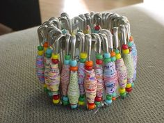 paper beads and safety pins