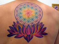 flower of life lotus rainbow tattoo