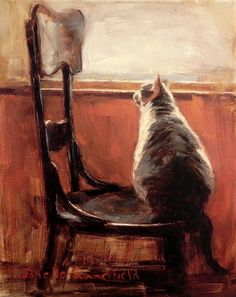 "Jonelle Summerfield - Oliver the cat is on the edge of his seat while watching drama unfold among some birds. Oil on 10""h x 8""w stretched canvas."
