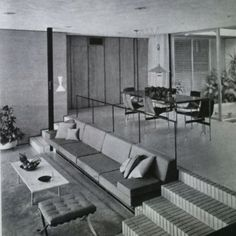 Decoration- Connaissance Des Arts 1963 'Man-made fibre carpet and granolithic stone, Williamson House. Architect: Mark Hampton.... Look at that pull-down light!