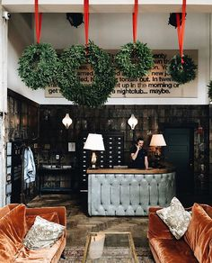 Christmas at The Allis. Soho House, Christmas Decorations, Table Decorations, Holiday Decor, Reception Areas, Time Of The Year, Commercial Design, Grand Hotel, Porch Swing
