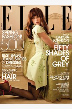 "Dakota on Elle–For its March issue, ELLE US taps ""Fifty Shades of Grey"" star Dakota Johnson for her first major fashion cover. Fashion Cover, Grey Fashion, Spring Fashion, Elle Fashion, Latest Fashion, Shades Of Grey Movie, Fifty Shades Of Grey, Pose, Elle Magazine"