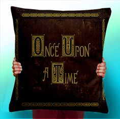 Once Upon a Time story Book - Cushion / Pillow Cover /typographic pillow typographic Panel / Fabric