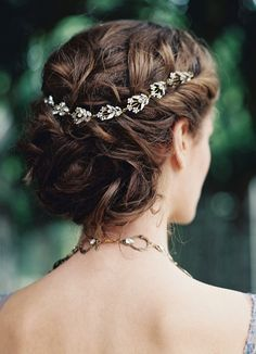 Softly swept wedding hair with a delicate hair vine from Enchanted Atelier.