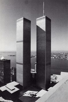 the twin towers of the world trade center looking southwest from woolworth building april 1982