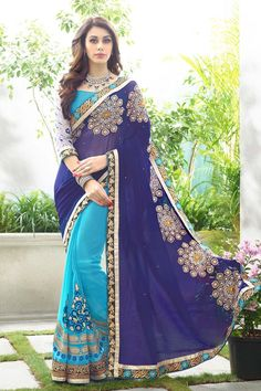 Buy Navy Blue Georgette Designer Saree Online in low price at Variation. Huge collection of Designer Sarees for Wedding. #designer #designersarees #sarees #onlineshopping #latest #lowprice #variation. To see more - https://www.variation.in/collections/designer-sarees.
