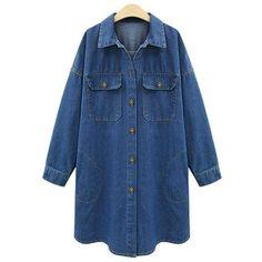 Yoins Yoins Plus Size Word Print Denim Duster Coat ($36) ❤ liked on Polyvore featuring outerwear, coats, blue, jackets, shirts, tops, print coat, denim coat, blue coat and plus size coats