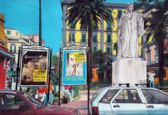 ASPETTANDO IL METRO' oil on canvas cm. 150x100 product 2003