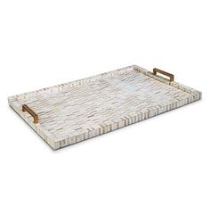 Covered in a gorgeous, bone inlay mosaic , this rectangular tray is so attractive, so perfect, you'll want to display your finest perfumes, decanters, or aperitifs on it.  Or, if everyday luxury is your style, serve a special someone breakfast in bed! #kathykuohome