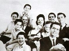 The Osmond Family: George & Olive Osmond with their 8 sons and 1 daughter, Virl, Tom, Alan, Wayne, Merrill, Jay, Donny, Marie & Jimmy.